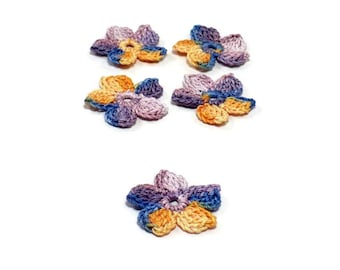 Crochet Applique Mini Flower Motif Flower Embellishment Crochet Flower Applique Purple Orange Blue Crochet Motif Crochet Flower Motif