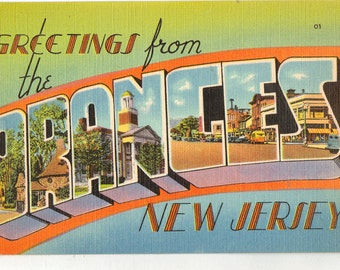 Linen Postcard, Greetings from the Oranges, New Jersey, Large Letter