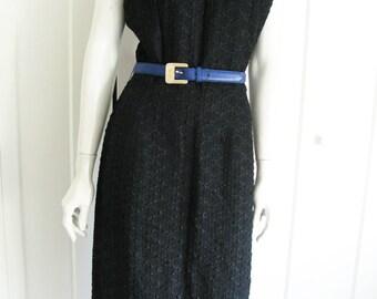 "Vintage 60's Black Wiggle Sleeveless Ribbon  Dress - Waist 30"""
