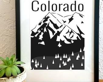 Colorado Mountain Art Print. Black & White. Digital Illustration Design. Landscape Wall Art. State Poster.