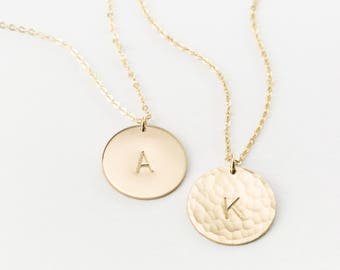 Large Personalized Initial Necklace - Silver or Gold Necklace • Custom Letter Disk - 14k Gold Filled, Silver or Rose Gold Necklace • LN216