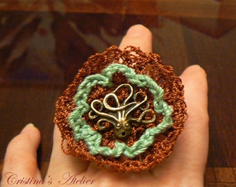Octopus crochet ring- Green copper crochet lace octopus adjustable ring- Women lace vintage inspired ring- Fashion octopus steampunk ring