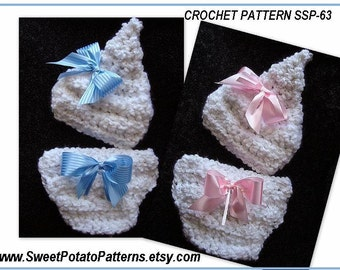 Instant Download PDF Crochet Pattern Sweet Pixie Diaper Cover and Hat Set SPP-63  newborn to age 3