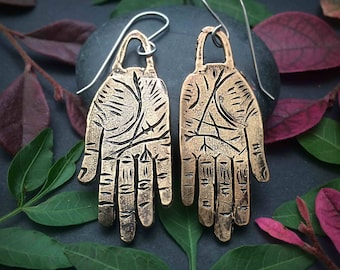 Bronze Hand Earrings - Hamsa - Hand of Fatima - Hand of Fortune - Hand of Protection