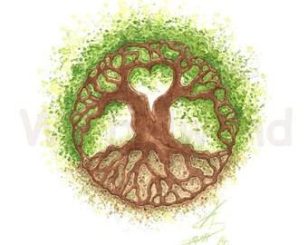 Kunstdruck einer Aquarellzeichnung  - Tree of Life... and a Heart! (21 x 30 cm), Original-Farben
