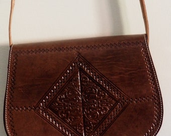 Genuine Moroccan brown  Leather bag &