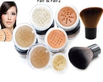 Mineral Makeup Foundation Bare Natural Magic Cover Minerals 8 Piece DOUBLE KABUKI SET