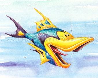 "PRINT of ""Shoeface"" Crazy Fish, Fish Art, Fish Painting, Fish Print, Kids Room, Fishing Gift, Watercolor, Funny Fish, Cartoon, Caricature"