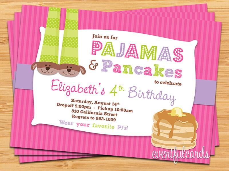 Pajamas and Pancakes Sleepover Birthday Party Invitation