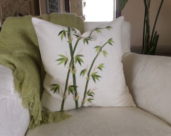 Bamboo Pillow Cover, Embroidered Bamboo Cushion, 18x18 Natural Canvas Sham, Asian Pillow, Tropical Accent Pillow, 18x18 zippered pillow