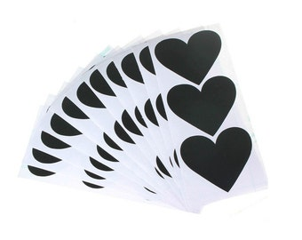 Heart Chalkboard Labels - 6/set - Tie, Chalkboard, Label, Sticker