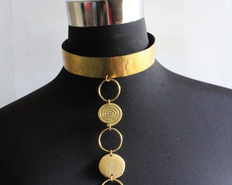 Maasai jewelry-Gold choker-African Maasai Beaded Necklace-Brass necklace-Statement Necklace-African Jewelry-Gold Necklace-Gift for Her
