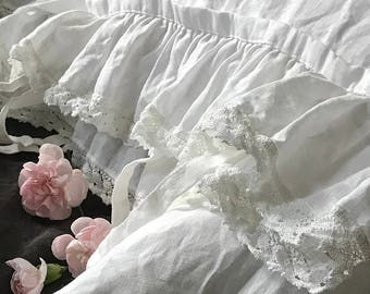 "Pure linen pillowcase 'Madeleine' with ruffle, linen lace and ties. Linen bedding, 20x24"" 20x26"" 26x26"" 20x30"" 20x36"" Shabby Chic bedding"