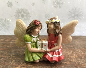 "Winter Fairy Garden | Miniature Christmas Sister Fairies ""Jackie & Jenny"" Sharing Gift Package 