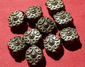10 Pcs. Antiqued Brass Finish Filigree Scroll Beads 10mm Antique Gothic Heavy Metal Victorian Medieval French Art Deco Vampire Viking Pretty