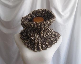 Cowl Neckwarmer Chunky Bulky Crochet Cowl:  Chocolate Brown, Beige & Taupe