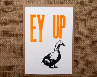 EY UP letterpress greeting card