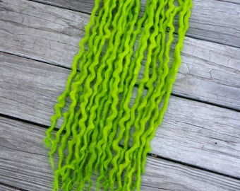 Green Wool Dreadlocks Dreads Extensions ~Choose Length and Amount~