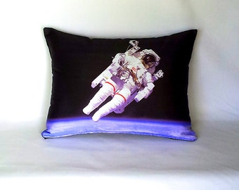 Astronaut in Space Pillow Cover - NASA Outer Space Shuttle Photo on Fabric / White, Blue, Black