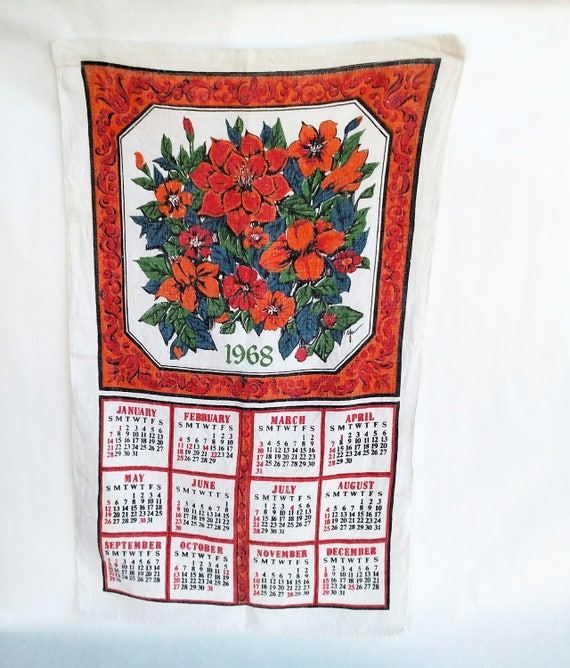 Vintage 1968 Linen Tea Towel Calendar with Framed Floral Design