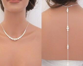 Pearl Back drop necklace, Bridal Backdrop necklace, Wedding jewelry, Bridal necklace, Pearl Wedding necklace, Swarovski crystal necklace