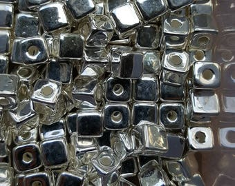 Silver Cube Beads 7mm Ceramic Cube Bead, Mykonos Greek Beads