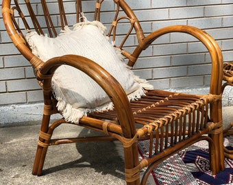 Vintage rattan chair in Franco Albini style - boho chair