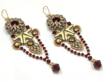 "Beading4perfectionists:  ""Yanara"" earrings beading pattern tutorial PDF file"