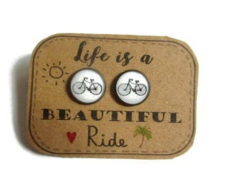BICYCLE EARRINGS - Cyclist earrings - bicycle stud earrings -  Bike stud earrings - Bicycle Jewellery - Cyclist Gift - Sports Earrings