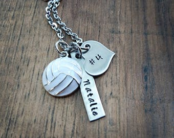 Hand Stamped Personalized Volleyball Necklace - Girls Volleyball gift - Volleyball Gifts - Volleyball Team Gift - Senior Night Gift