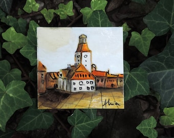 Tiny house, miniature painting, original acrylic on cardboard contemporary art, Medieval Town Hall of Brasov, travel souvenir Romania Europe