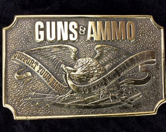 "Solid ""Support Your Right To Keep And Bear Arms,"" Brass Guns & Ammo, Belt Buckle 1978"
