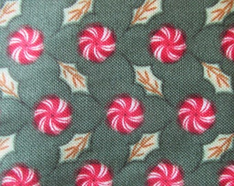 """Christmas Whimsy Red Rooster Fabric Christmas Candy Cotton Quilt Fabric Holiday Green Red Fabric  44"""" BTY By The Yard"""