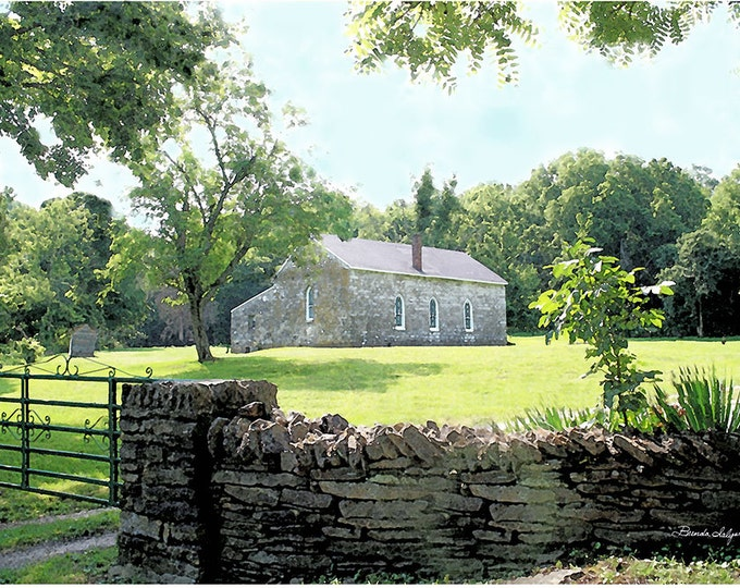 Kentucky, Old Stone Church Boonesboro, Fine Art Giclee Print on Canvas or Paper
