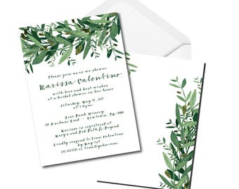 Whimsical Bridal Shower Invitation - Greenery - Olive Leafs - Digital File