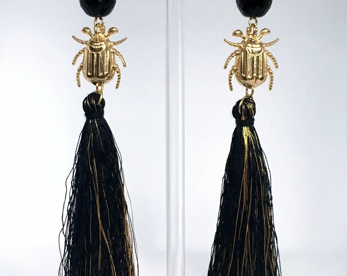 Tassel drop earrings, Black tassel and golden scarab drop earrings