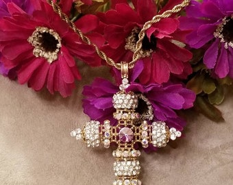 Large Rhinestone Cross, Cross Necklace, Adorned With Rhinestones, Statement Piece, Rope Chain, Gold Plated Chain, Vintage