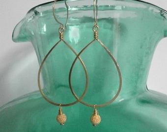 Gold Teardrop Stardust Bead Earrings Gold Hoops with Dangles Hammered Wire Jewelry Long 14k Gold Fill Drop Earrings