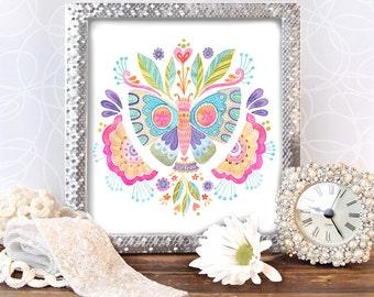 Fly Free Butterfly- ART PRINT, kids art, whimsical art, feminine art, nursery art, watercolor art, watercolor painting, girls room art