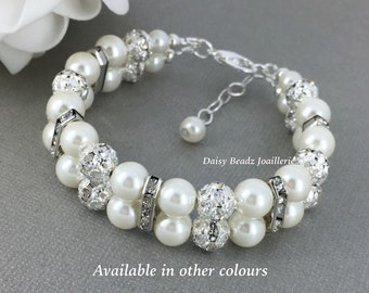 Bridesmaid Gift Pearl and Rhinestones Double Strand Pearl Bracelet Pearl Bracelet Bridesmaids Bracelet Bridesmaid Jewelry Bridal Jewelry
