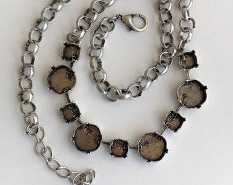Coupe vide chaîne maîtresse collier avec chaîne de 12mm et 8mm, 9 vide Cupchain vide, fabrication de collier, argent Antique, paramètres