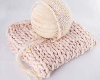 Pastel Pink Rainbow knit baby bonnet, newborn photography bump and bonnet set,  one of a kind, knit baby bonnet,