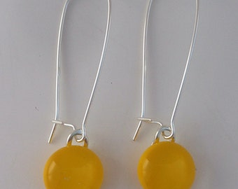 Yellow Fused Glass Sterling Silver Danglies Earrings