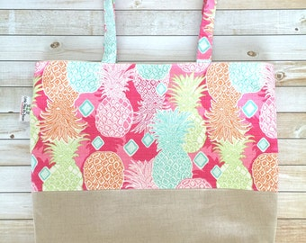 Bright and Summery Pineapples Linen And Canvas Tote Bag, Beach Bag, Work Tote, School Bag, Book Bag, Travel Tote, Teachers Gift