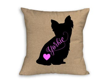 "Pink Yorkie Pillow Cover, Pillow Cover, Yorkie Pillow Cover, 18"" x 18"" Zip Pillow Cover"