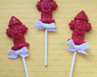 FIRE HYDRANT Chocolate Pops(12)- FIREMAN Party/Fireman Party Favors