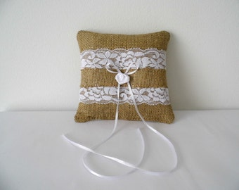 Ring Bearer Pillow, Burlap And Lace Ring Bearer, Wedding Ring, Burlap Accessories, Wedding Gift, Rustic Accessories, Country Wedding