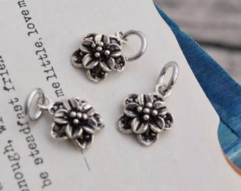 3 pcs sterling silver tiny flower charm pendant  , JTX4