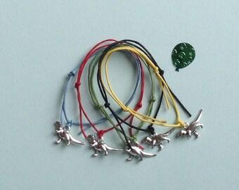 5 Dinosaur Party Bag Bracelets - Pack of 5 Adjustable Cord String Friendship Bracelets