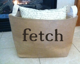 FETCH,   lined burlap dog toy basket , burlap storage tote